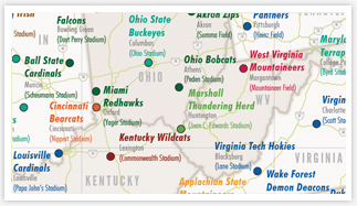 Division A College Football Of The United States Wall Map - Us college football map