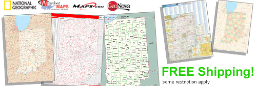 World's largest selection of Indiana Wall Maps