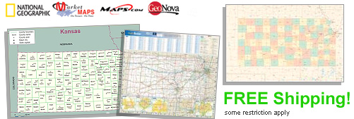 World's largest selection of Kansas Wall Maps