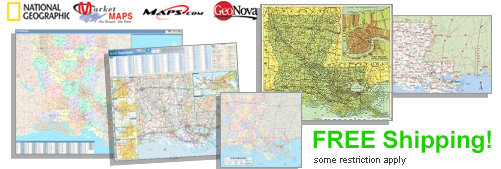 World's largest selection of Louisiana Wall Maps