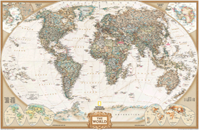 World Political Wall Map (antique tones)