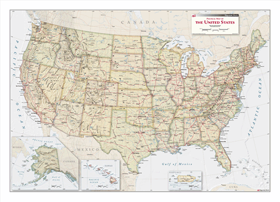 Political Wall Map of US with Antique Tones