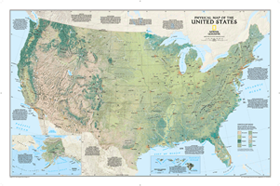 US Physical Wall Map