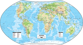 World Physical Wall Map - Hammer Projection