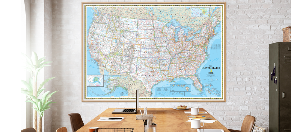 Interior decor wall maps for conference rooms.