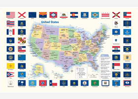 US Flags Wall Map