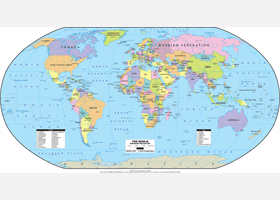 World Political Wall Map - Robinson Projection