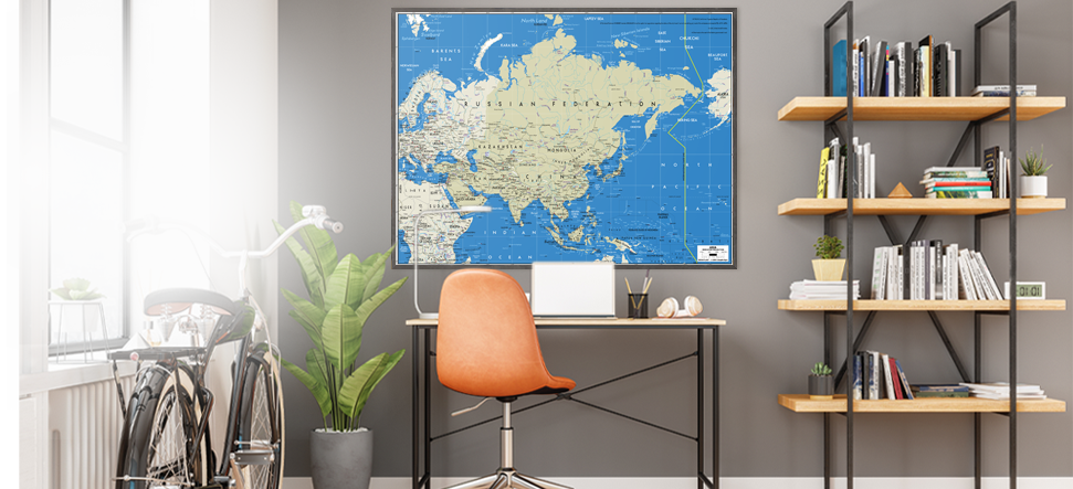 Interior decor wall maps for your home office.