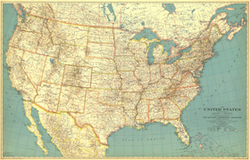The United States 1933 Wall Map