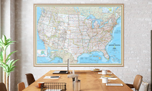 Shop for interior decor wall maps for conference rooms.