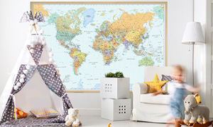 Shop for interior decor wall maps for kids' rooms.