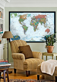 Shop for interior decor wall maps by room.