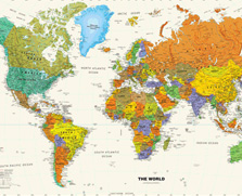 Shop for world wall maps for interior decor.