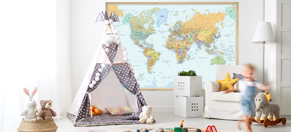Interior decor wall maps for kids' rooms.