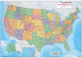 Political Wall Map Of The US