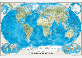 National Geographic Physical World Wall Map