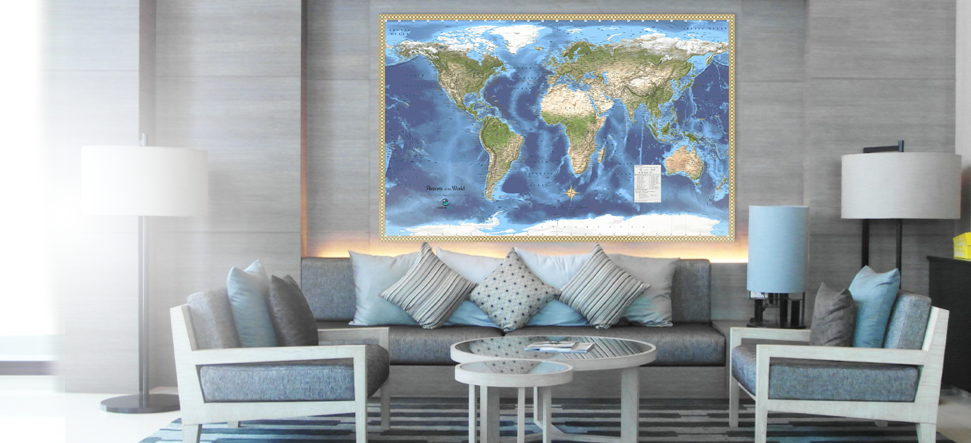 Interior decor wall maps for reception lobbies.