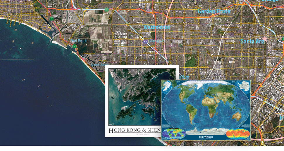 Satellite Wall Maps for anywhere in the world with Crystal Clear Satellite Imagery