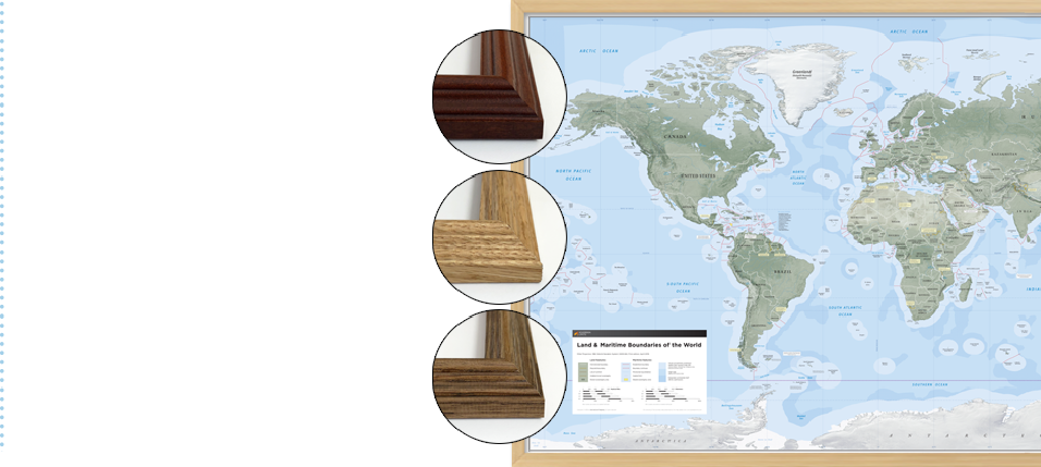 Framed Wall Map options for the Sovereign Limits & Boundaries Wall Map displays international land and maritime zones.