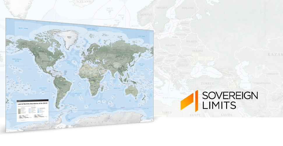 The Sovereign Limits & Boundaries Wall Map displays international land and maritime zones.