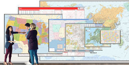 Large wall maps available in sizes 2x3 ft to 9x12 ft.