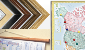 Many finishing options including framed, magnetic, laminated maps and more.
