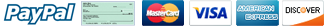 MasterCard, Visa, American Express, Discover, PayPal, e-Check Accepted Here