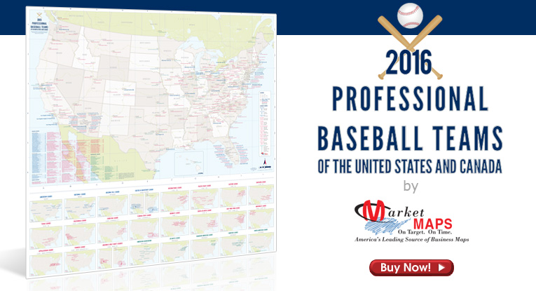 Baseball Wall Map By MarketMAPS - Map of us baseball teams