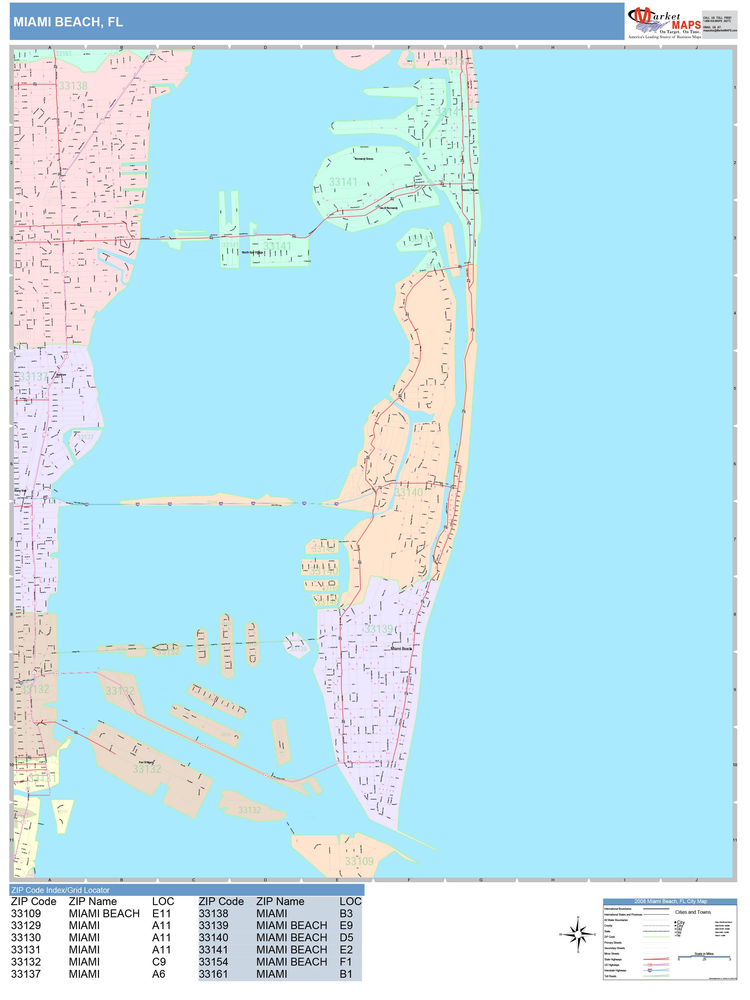 miami beach florida wall map (color cast style)marketmaps