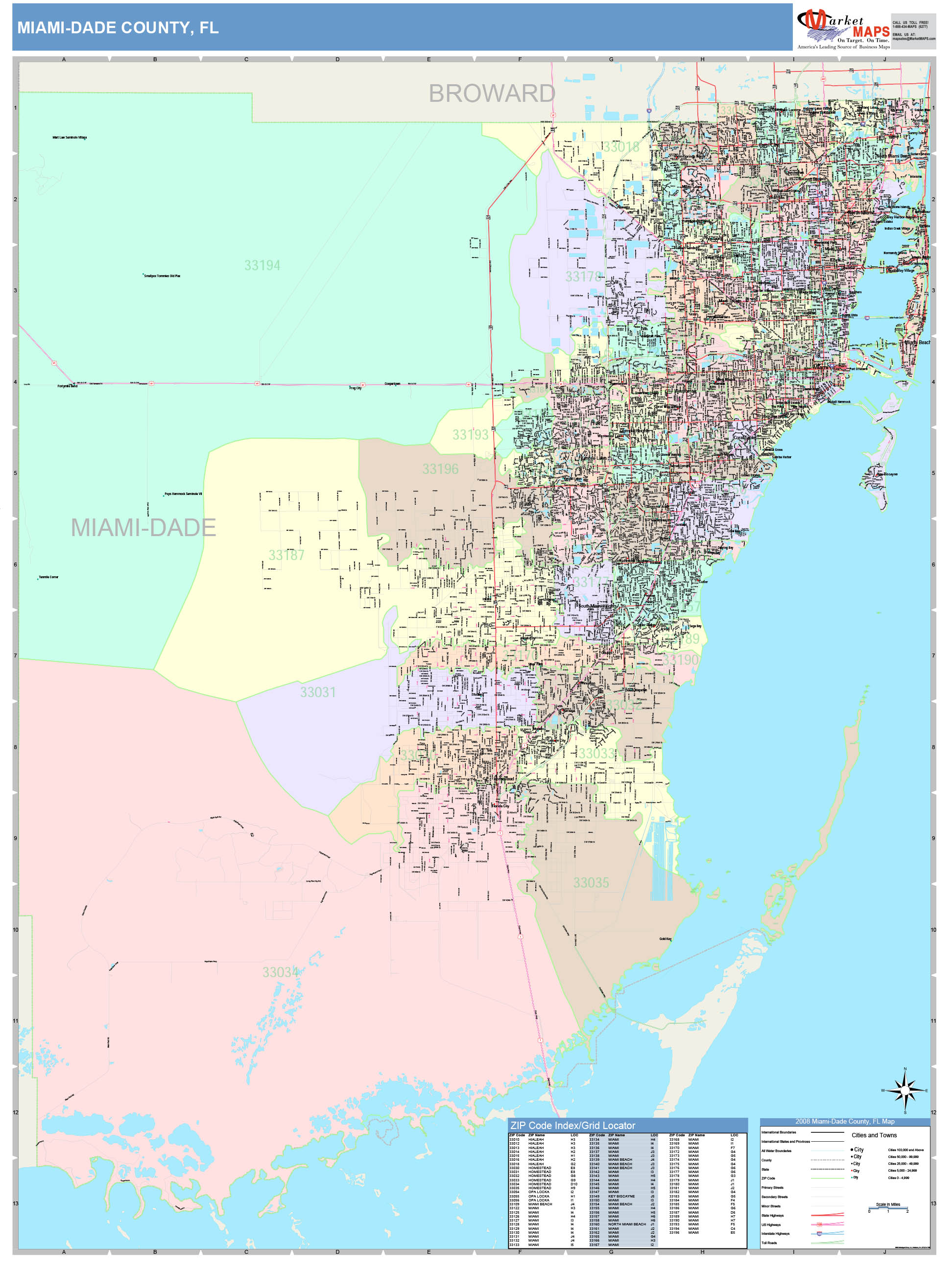 miami-dade county, fl wall map color cast stylemarketmaps