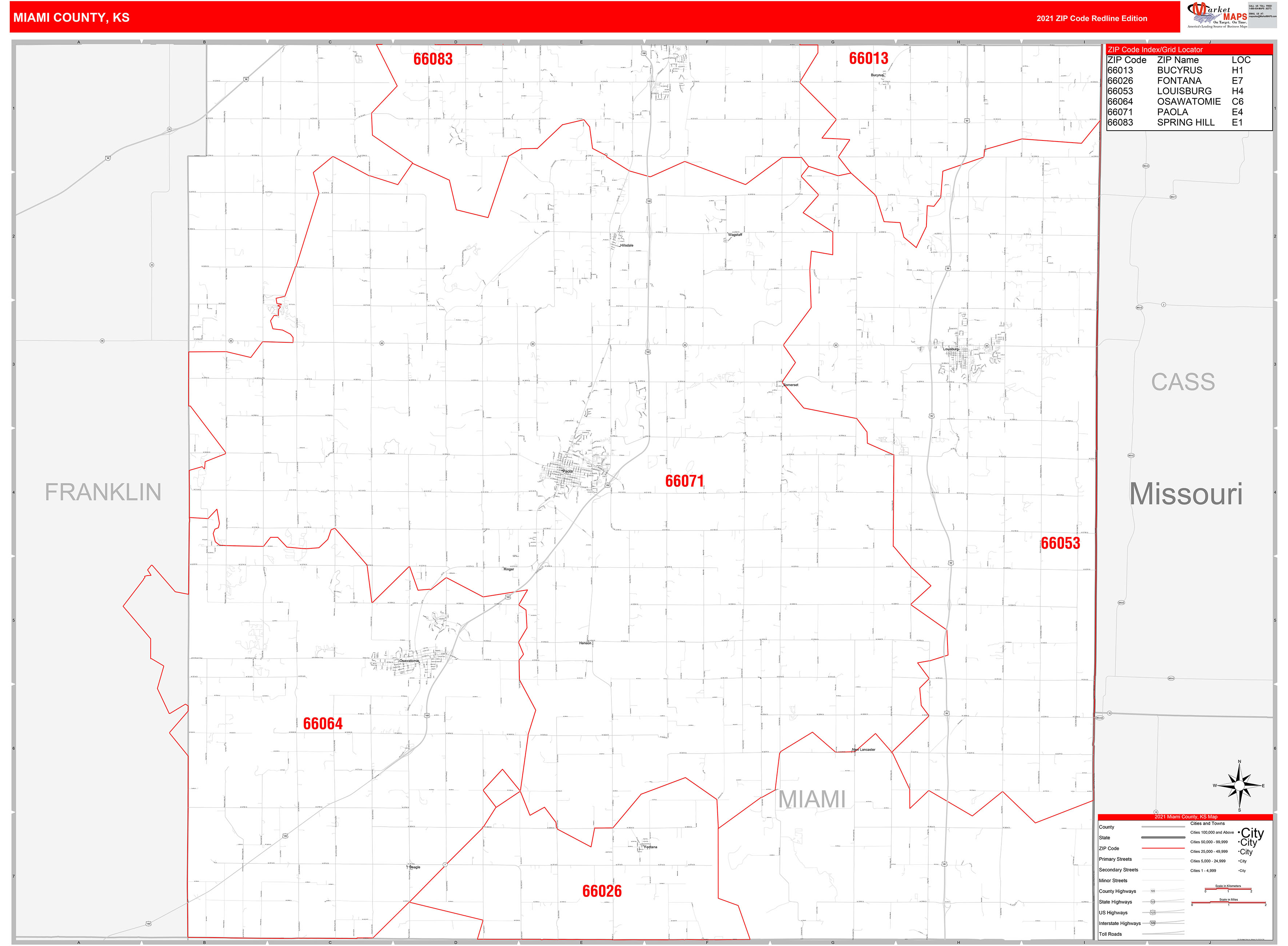 miami county, ks zip code wall map red line style