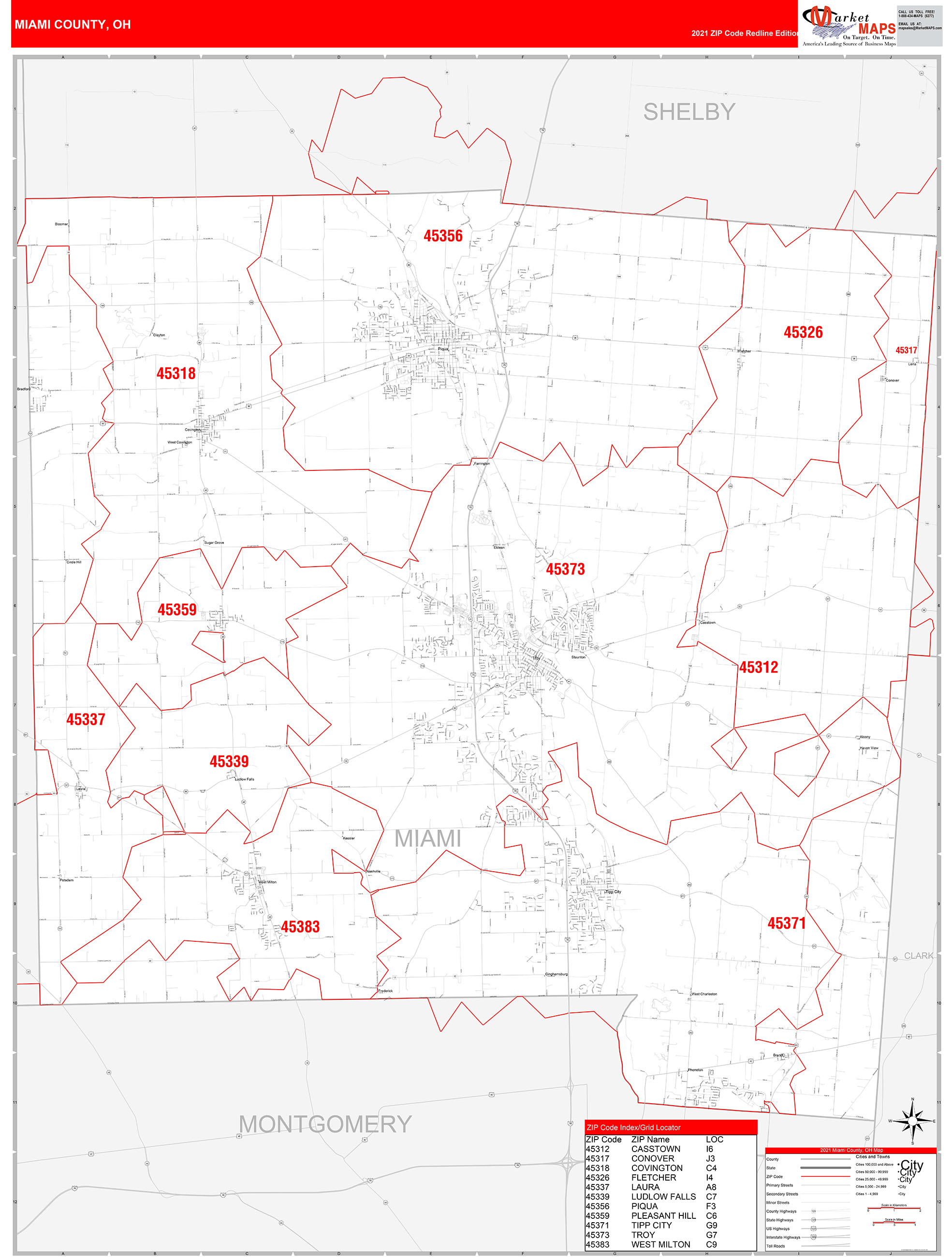 miami county, oh zip code wall map red line style