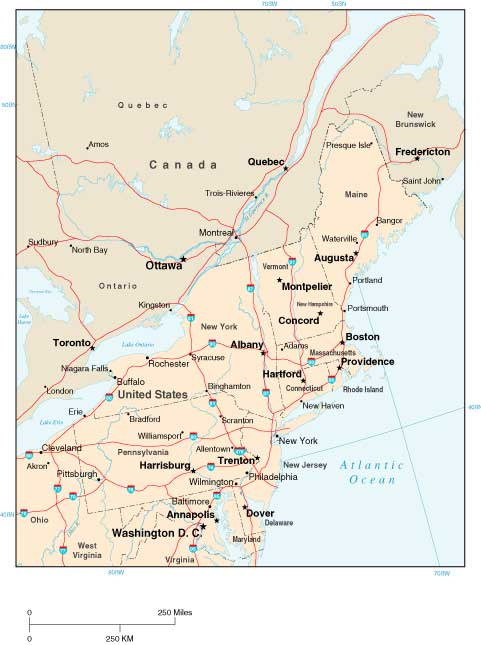 Standard Political North Eastern US Wall Maps - Eastern usa map