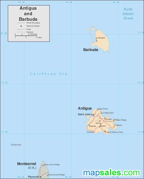 Antigua/Barbuda Wall Map