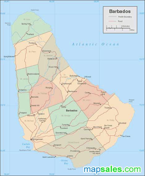 Barbados Wall Map