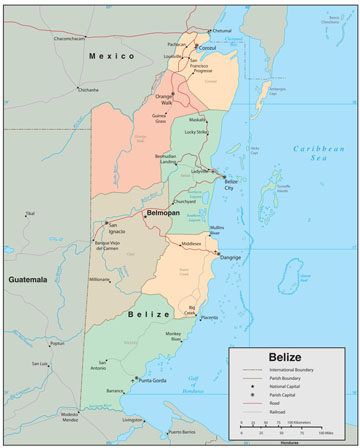 Belize Wall Map
