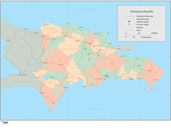 Dominica Wall Map
