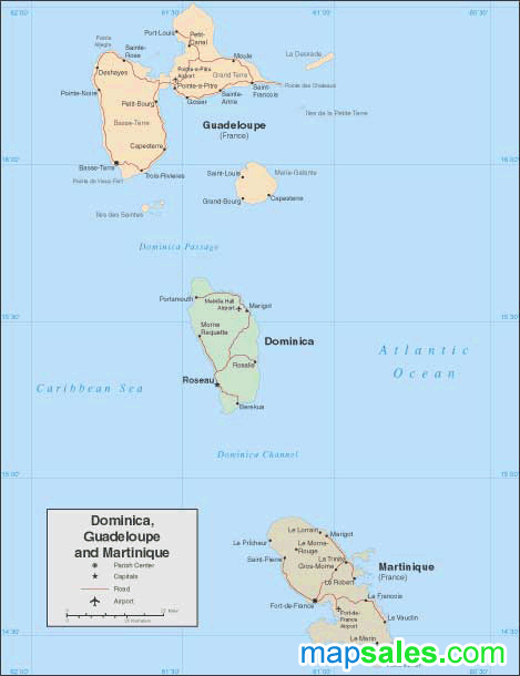 Dominica / Guadelupe / Martinique Wall Map