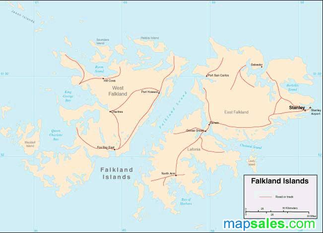 Falkan Islands Wall Map