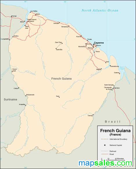 French Guiana Wall Map
