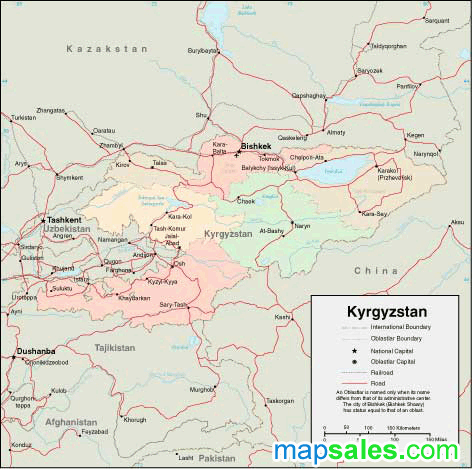 Kyrgyzstan Wall Map