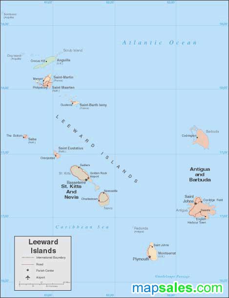 Leeward Islands Wall Map