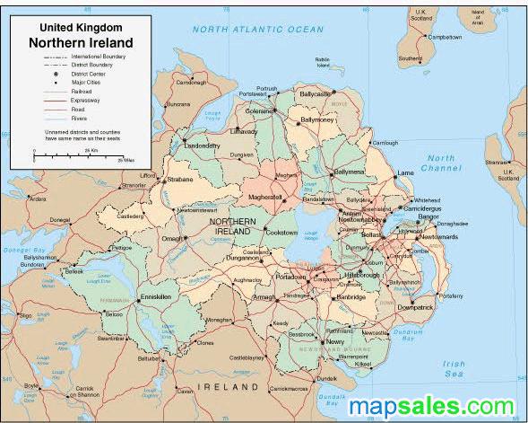 Northern Ireland Wall Map
