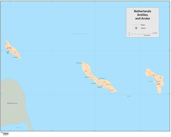 Netherland Antilles Wall Map