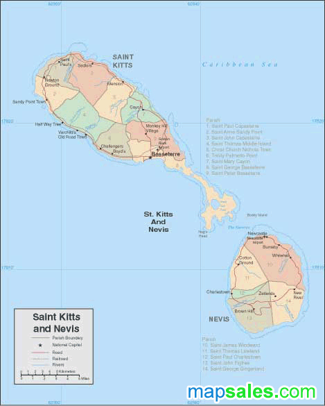 St. Kitts/Nevis Wall Map
