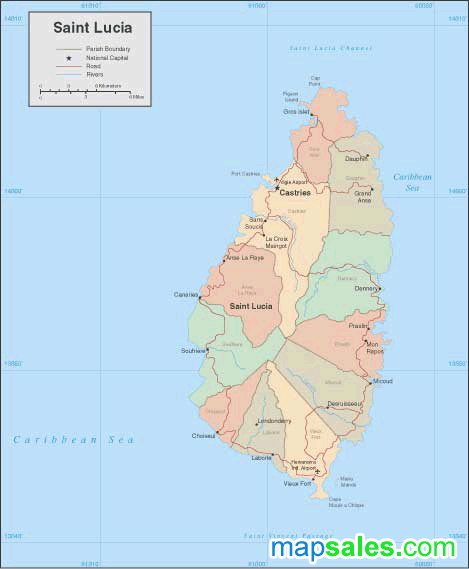 St. Lucia Wall Map
