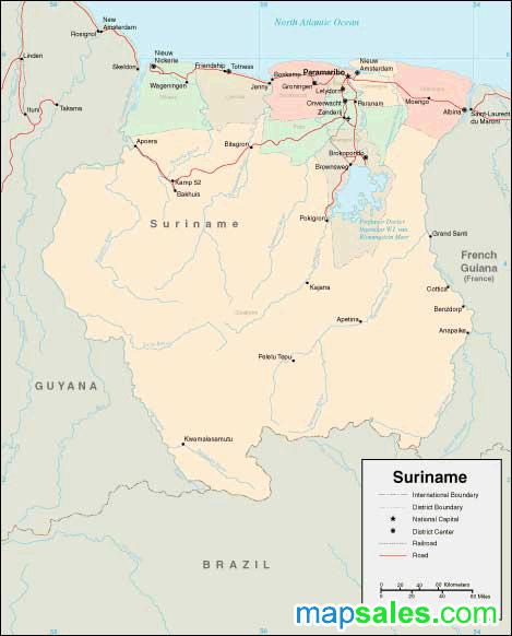 Suriname Wall Map