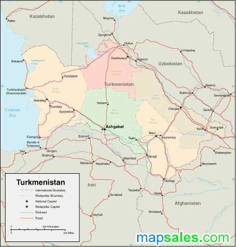 Turkmenistan Wall Map