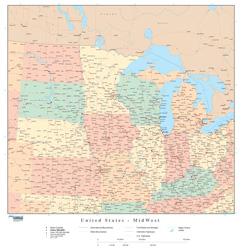 Midwestern U.S. Regional Wall Map
