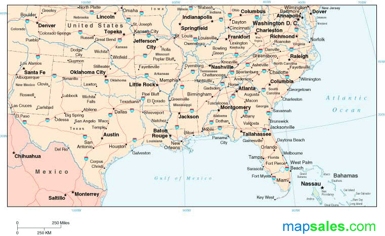 Southern U.S. Regional Wall Map by Map Resources